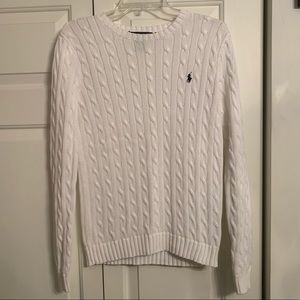 Ralph Lauren Polo White Classic Crewneck Sweater
